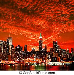 Die New York City Midtown Skyline.