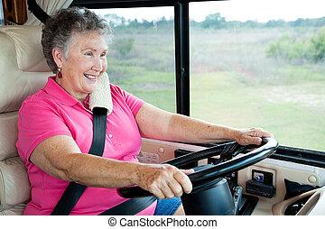 Die Senioren fahren im Wohnmobil.