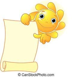 Die Sonne zeigt eine Schriftrolle.