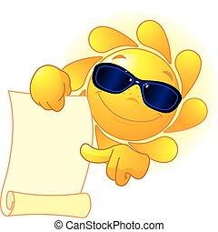 Die Sonne zeigt eine Schriftrolle