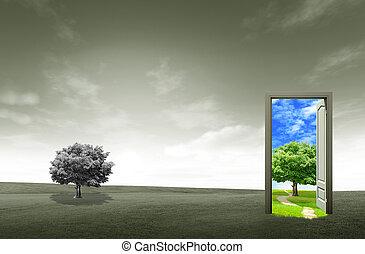 Die Tür zum grünen Bereich für Umweltkonzept und -konzept geöffnet