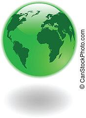 Die Vektorgrüne Weltkarte und den Globus