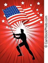 Die Vereinigten Staaten von Amerika Flagge Träger.