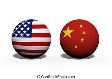 Die Vereinigten Staaten von Amerika und China arbeiten zusammen.