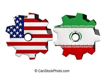 Die Vereinigten Staaten von Amerika und Iran arbeiten zusammen.
