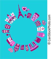 Die Welt von Paris - Vektor Illustration