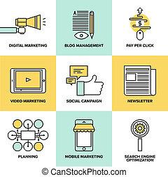 Digital Marketing und Werbung flache Icons