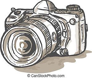 digital, slr kamera, zeichnung