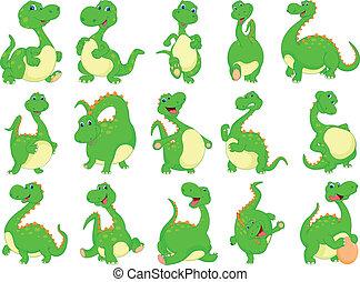 dinosaurierer, verschieden, karikatur
