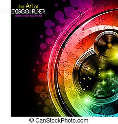 Disco-Club-Flieger mit großen Lautsprechern
