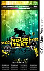 Disco-Event-Poster mit einem Discjockey