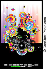 Discoteque flyer mit abstrakter DJ Silhouette.