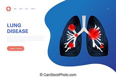 diseases., akut, schlimm, krebs, banner, verschieden, asthma, syndrom, lungen, begriff, coronavirus, krank, pneumonia, infection., tuberkulose, atmungs