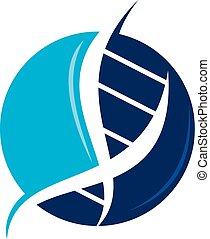 DNA-genetisches Logo-Design Vorlagenvektor.