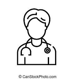 doktor, grobdarstellung, linie, vektor, zeichen, abbildung, linear, symbol., begriff, ikone