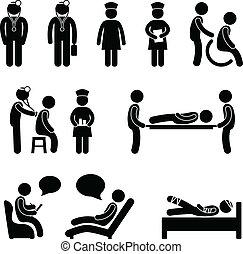 Doktor Krankenpfleger krank im Krankenhaus