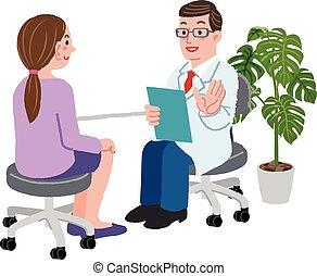 Doktor und seine Patientin in seinem Büro.