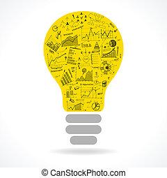 Doodle Idee Leuchtkugel Icon mit infographischen Diagrammen.