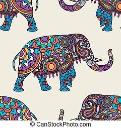 Doodle indianischer Elefant nahtlos Muster