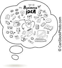 Doodle-Sprache-Symbol mit Business-Idee infographics isolierten Vektorgrafik.