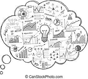Doodle-Sprache-Symbol mit Infographics.