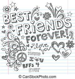 doodles, sketchy, vektor, friends, am besten