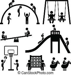 draußen, park, kinder, spielplatz