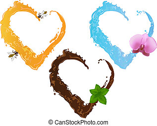Drei flüssige Herzen