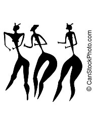 Drei Frauen - primitive Kunst