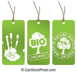 Drei grüne Tags für organische.