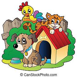 Drei Haustiere