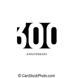 drei, invitation., jahr, hundertste, card., raum, negativ, hintergrund., jahre, schwarz, weißes, hundert, logo., gruß, 300, zeichen., abbildung, 300th, geburstag, jubiläum, minimalistic, jubiläum, vektor