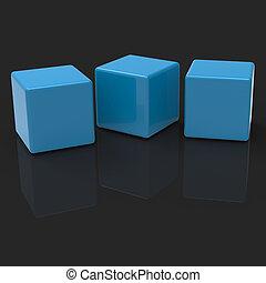 Drei leere Blocks zeigen Kopien für drei Buchstaben