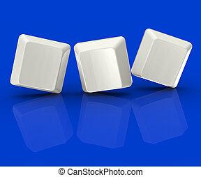 Drei leere Fliesen zeigen Hintergrund für drei Buchstaben