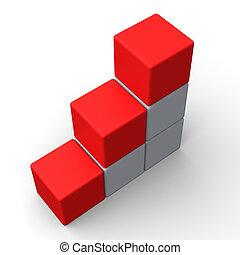 Drei leere Schritte zeigen Platz für 3 Buchstaben.