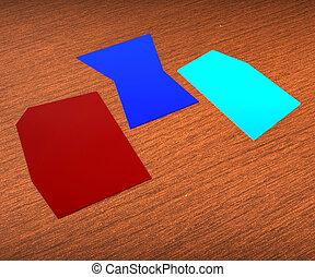 Drei leere Zettel zeigen Kopierraum für 3 Buchstaben.
