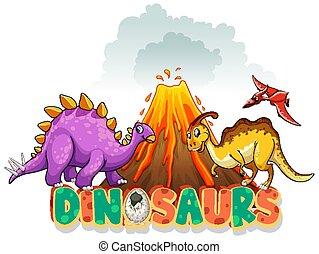 drei, vulkan, schriftart, wort, dinosaurier, design