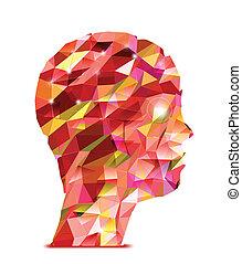 dreiecke, head., abstrakt, menschliche , abbildung