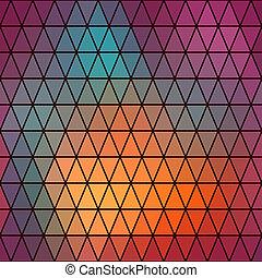 Dreiecksmuster geometrischer Formen. Farbige Mosaikkulisse. Geometrischer Hipster Retro Hintergrund, legen Sie Ihren Text oben drauf. Retro-Dreieck Hintergrund. Backdrop