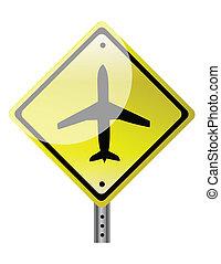 Dreiecksschild mit Flugzeug.