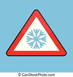 Dreiecksstrassenschild mit Schneeflocke für den kalten Winter.