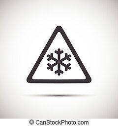 Dreieckswarnzeichen, einfache Vektorgrafik von Schneeflocken.