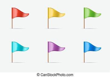 Dreieckswave-Flagge-Symbol oder Logo in Vektor.