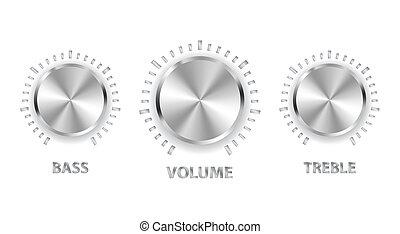 dreifach, baß, metall, volumen, vektor, knäufe