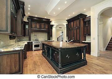 dunkel, cabinetry, kueche