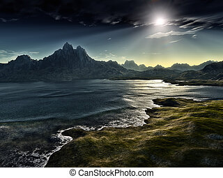 dunkel, fantasie, landschaftsbild