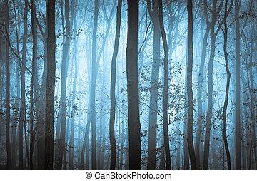 Dunkelblauer, unheimlicher Wald mit Bäumen im Nebel