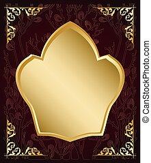 Dunkelfarbener Hintergrund mit Goldrahmen - Vektordekorationen.