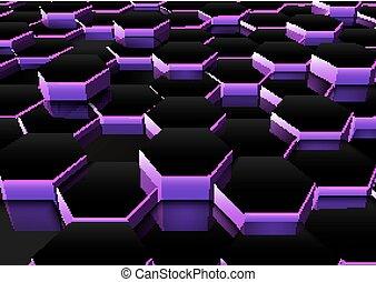 dunkler purple, sechseckig, hintergrund