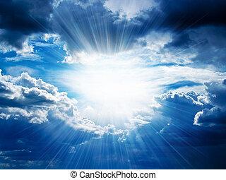 durch, bricht, strahlen, wolkenhimmel, sonnenschein